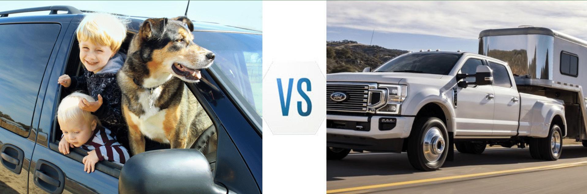 Image shows a Minivan vs. Ford Super Duty Pickup Truck Tableau