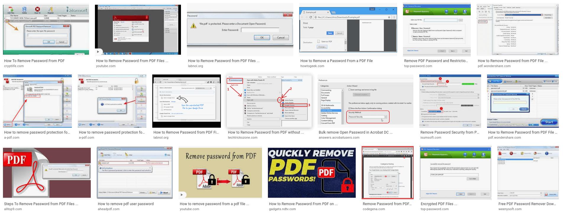 Screenshot: PDF password removal tools