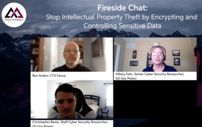 Image shows a screenshot (top left), Hillary Fehr (GE), and Chris Babie (GE) of the IP Protection Fireside Chat: Fasoo's Ron Arden